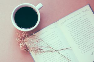 Black coffee and book