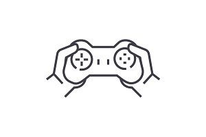 gamepad in hands,playing game vector line icon, sign, illustration on background, editable strokes