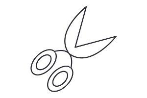 garden scissors  vector line icon, sign, illustration on background, editable strokes