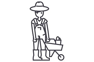 gardener man with wheelbarrow vector line icon, sign, illustration on background, editable strokes