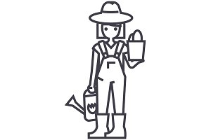 gardener woman with plant and watering can vector line icon, sign, illustration on background, editable strokes