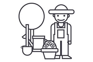 gardener,tree,shovel,watering can,bush vector line icon, sign, illustration on background, editable strokes