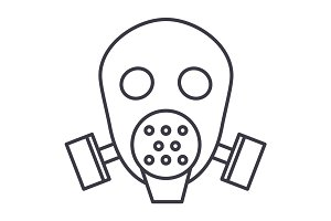 gas mask respirator  vector line icon, sign, illustration on background, editable strokes