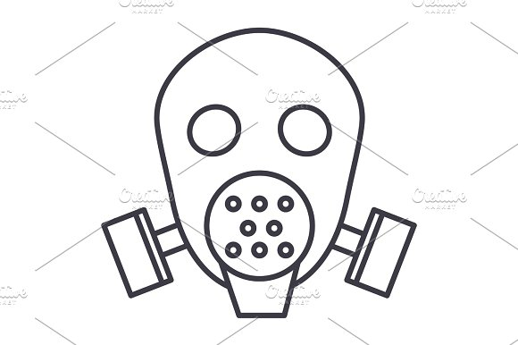 Gas Mask Respirator Vector Line Icon Sign Illustration On Background Editable Strokes
