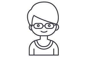geek boy with glasses vector line icon, sign, illustration on background, editable strokes