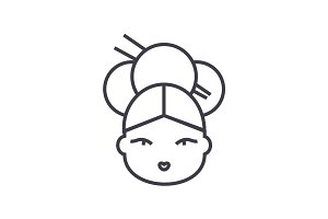 geisha vector line icon, sign, illustration on background, editable strokes