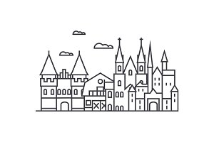 germany castles vector line icon, sign, illustration on background, editable strokes