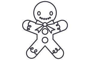gingerman  vector line icon, sign, illustration on background, editable strokes