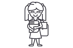 girl in school with book and backpack vector line icon, sign, illustration on background, editable strokes