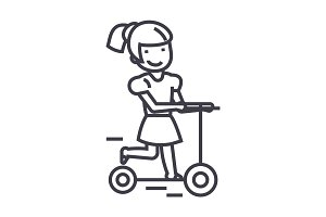 girl on a scooter vector line icon, sign, illustration on background, editable strokes