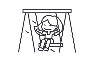 girl on swing,little vector line icon, sign, illustration on background, editable strokes