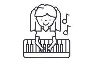 girl playing on piano vector line icon, sign, illustration on background, editable strokes