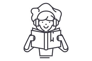 girl reading book in earphones vector line icon, sign, illustration on background, editable strokes
