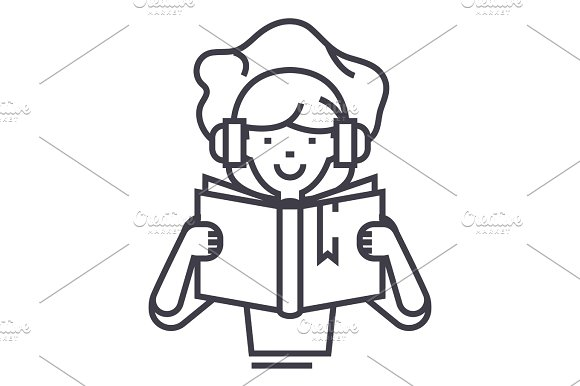 Girl Reading Book In Earphones Vector Line Icon Sign Illustration On Background Editable Strokes