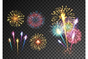 Fireworks isolated on dark transparent background