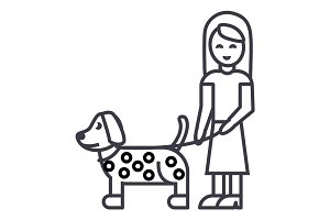 girl with dog vector line icon, sign, illustration on background, editable strokes