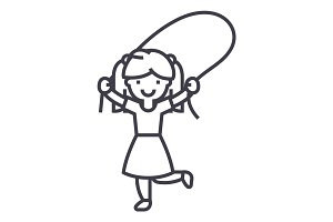 girl with jumping rope vector line icon, sign, illustration on background, editable strokes