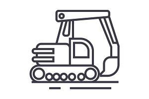 big excavator vector line icon, sign, illustration on background, editable strokes