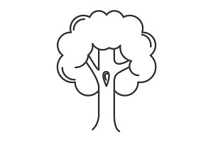 big tree  vector line icon, sign, illustration on background, editable strokes