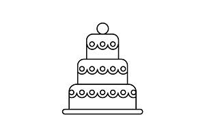 big wedding cake vector line icon, sign, illustration on background, editable strokes