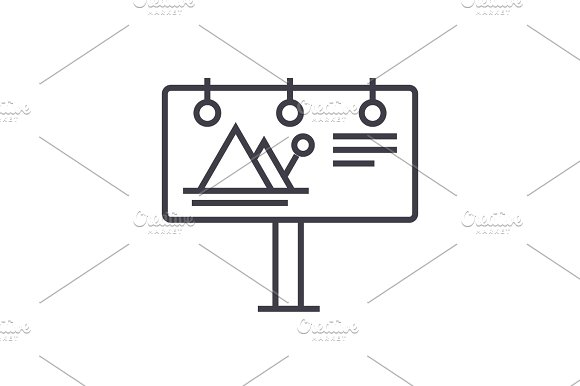 Billboard Advertising Vector Line Icon Sign Illustration On Background Editable Strokes