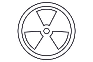 biohazard,dangerous radiation vector line icon, sign, illustration on background, editable strokes