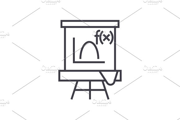 Blackboard Mathematics Vector Line Icon Sign Illustration On Background Editable Strokes