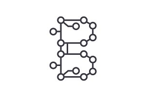 blockchain technology,circuit vector line icon, sign, illustration on background, editable strokes
