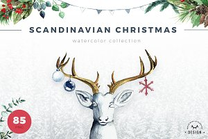Watercolor Scandinavian Christmas
