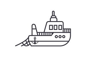 boat fishing vector line icon, sign, illustration on background, editable strokes