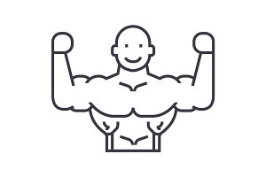 bodybuilder vector line icon, sign, illustration on background, editable strokes