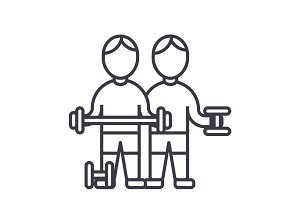 bodybuilders,fintess gym,strong practice,weights,workout vector line icon, sign, illustration on background, editable strokes