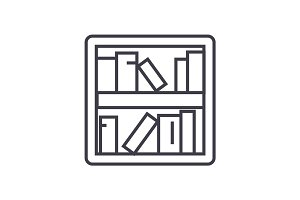 book shelf vector line icon, sign, illustration on background, editable strokes