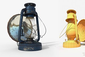 Old Oil Lamp PBR Low Poly