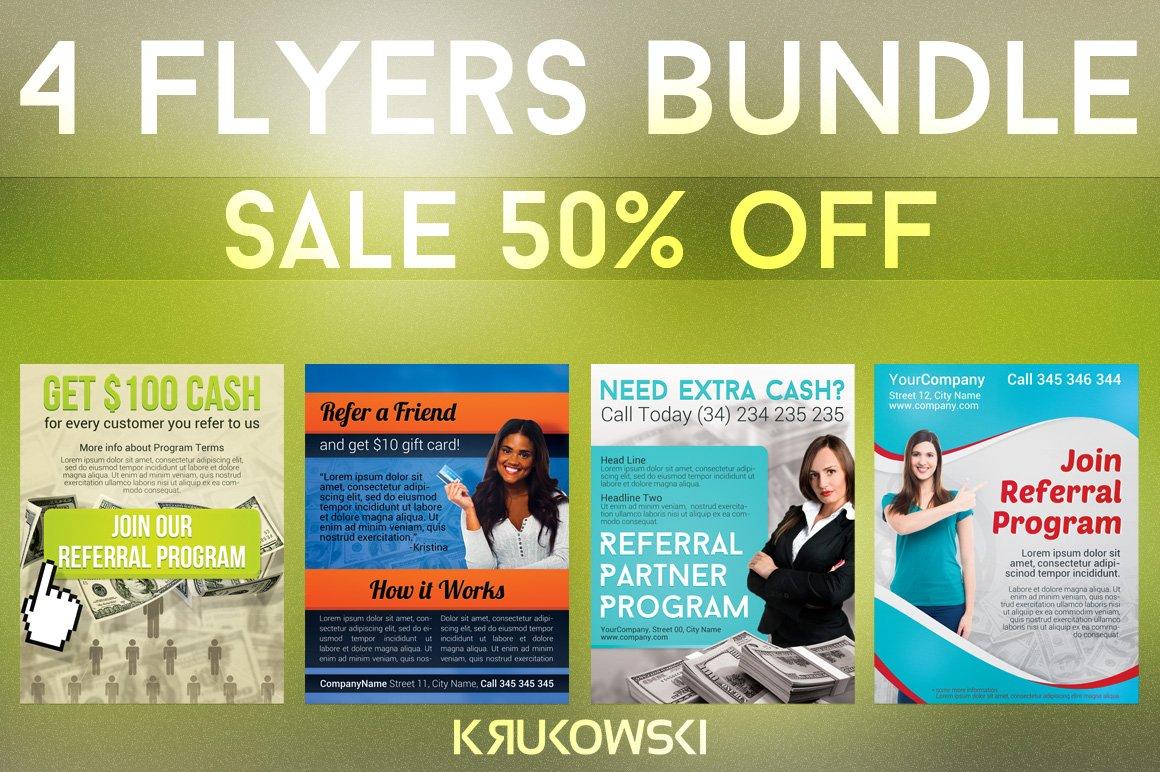 referral flyers bundle flyer templates creative market. Black Bedroom Furniture Sets. Home Design Ideas