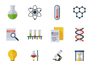 Chemistry icon flat set