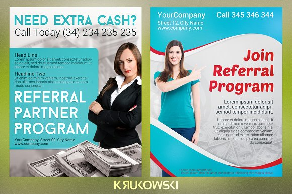 referral flyers bundle flyer templates creative market