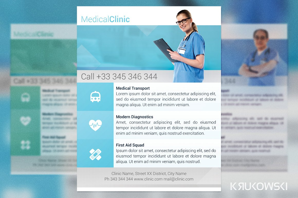 Medical clinic flyer flyer templates creative market for Clinic brochure template