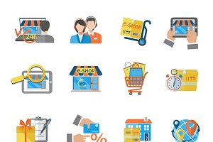 Shopping online payment icon set