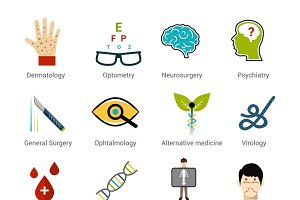 Medical specialties icons set