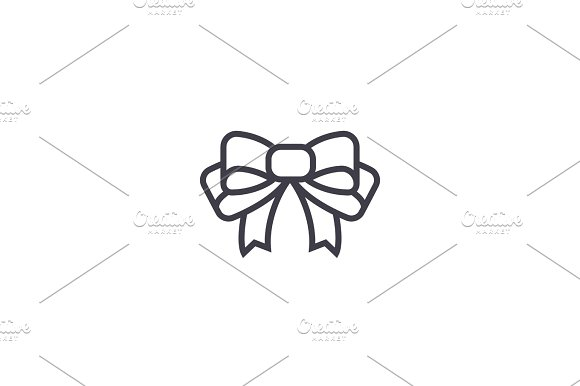 Bow Vector Line Icon Sign Illustration On Background Editable Strokes