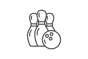 bowling vector line icon, sign, illustration on background, editable strokes