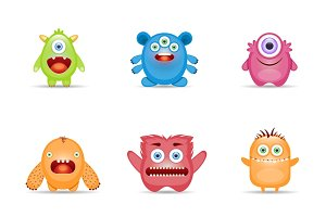 Group of monster colorful set