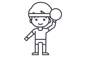 boy playing  with ball vector line icon, sign, illustration on background, editable strokes