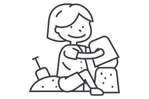 boy playing with sand on beach or sandbox,scapula and bucket vector line icon, sign, illustration on background, editable strokes
