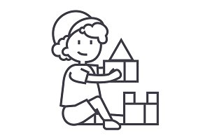 boy playing with toys,box of bricks vector line icon, sign, illustration on background, editable strokes