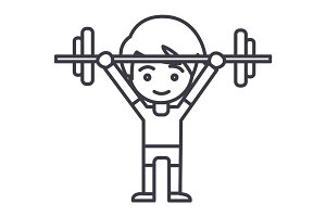 boy weights up vector line icon, sign, illustration on background, editable strokes
