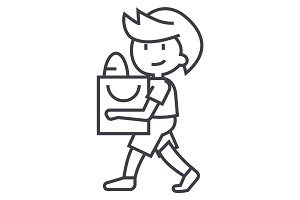 boy with shopping bag vector line icon, sign, illustration on background, editable strokes