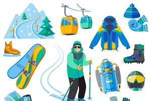 Ski resort icons set