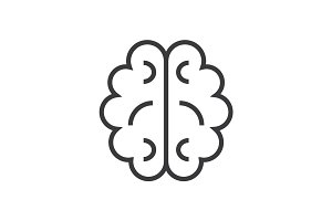 brain vector line icon, sign, illustration on background, editable strokes